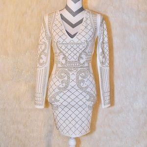 WHITE and GOLD Akira Dress Size S